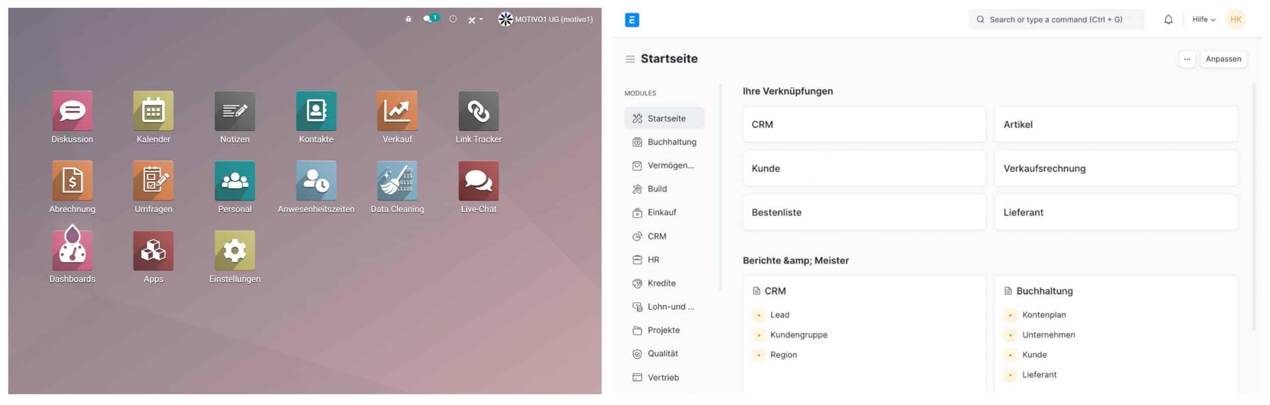 Odoo und ERPNext Dashboard Desk & Mobile
